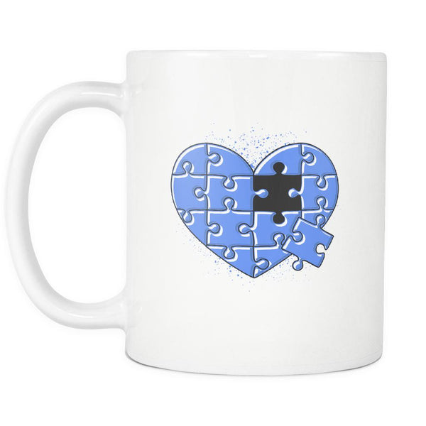 Love & Autism Whole Heart Puzzle Autism Awareness V2 White 11oz Coffee Mug-NeatFind.net