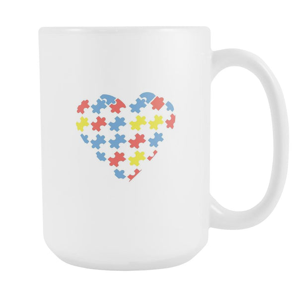 Love & Autism Whole Heart Puzzle Autism Awareness White 15oz Coffee Mug-NeatFind.net
