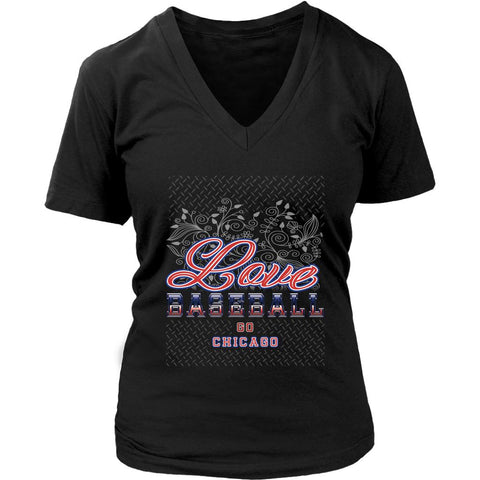Love Baseball Go Chicago Fan Gifts Diamond Plate Cool V-Neck T-Shirts-NeatFind.net