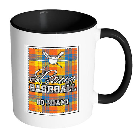 Love Baseball Go Miami Fan Gifts Checkered Plaid Cool 11oz 7Colors Mug-NeatFind.net