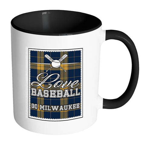 Love Baseball Go Milwaukee Fan Gifts Checkered Plaid Cool 11oz 7Colors Mug-NeatFind.net