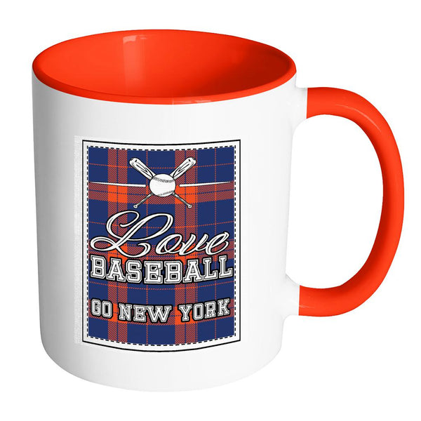 Love Baseball Go New York Fan Gifts Checkered Plaid Cool 11oz 7Colors Mug-NeatFind.net