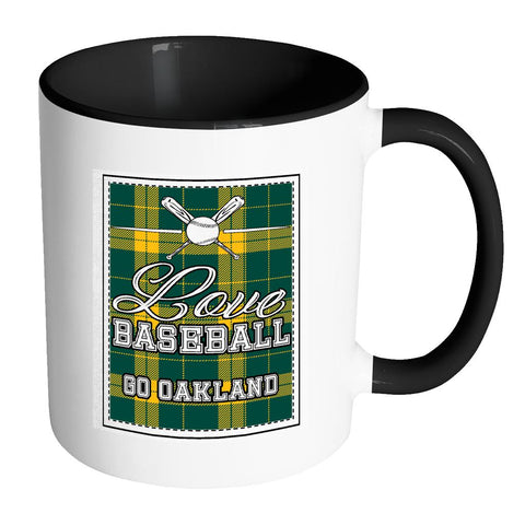Love Baseball Go Oakland Fan Gifts Checkered Plaid Cool 11oz 7Colors Mug-NeatFind.net