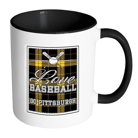 Love Baseball Go Pittsburgh Fan Gifts Checkered Plaid Cool 11oz 7Colors Mug-NeatFind.net