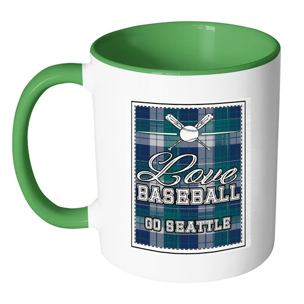 Love Baseball Go Seattle Fan Gifts Checkered Plaid Cool 11oz 7Colors Mug-NeatFind.net