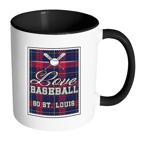 Love Baseball Go St. Louis Fan Gifts Checkered Plaid Cool 11oz 7Colors Mug-NeatFind.net