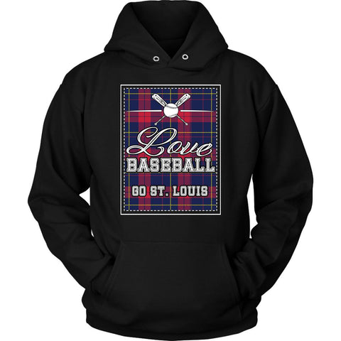 Love Baseball Go St. Louis Fan Gifts Checkered Plaid Cool Unisex Hoodies-NeatFind.net