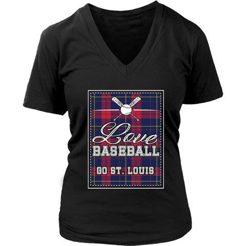 Love Baseball Go St. Louis Fan Gifts Checkered Plaid Cool V-Neck T-Shirts-NeatFind.net