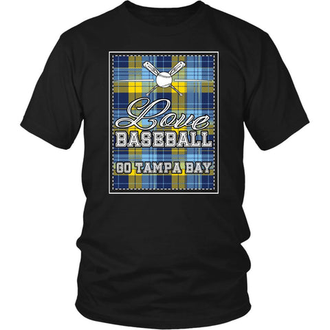 Love Baseball Go Tampa Bay Fan Gifts Checkered Plaid Cool Unisex TShirts-NeatFind.net