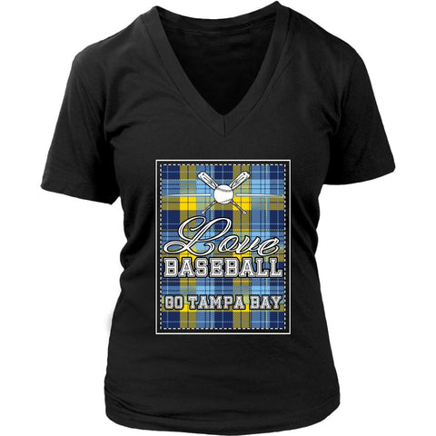 Love Baseball Go Tampa Bay Fan Gifts Checkered Plaid Cool V-Neck T-Shirts-NeatFind.net