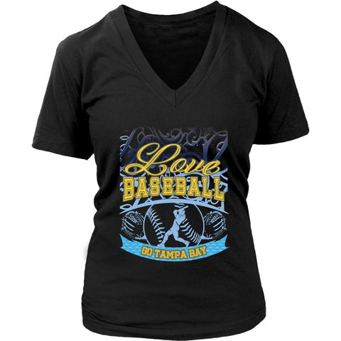 Love Baseball Go Tampa Bay Fan Gifts Gradient Vine Cool V-Neck T-Shirts-NeatFind.net