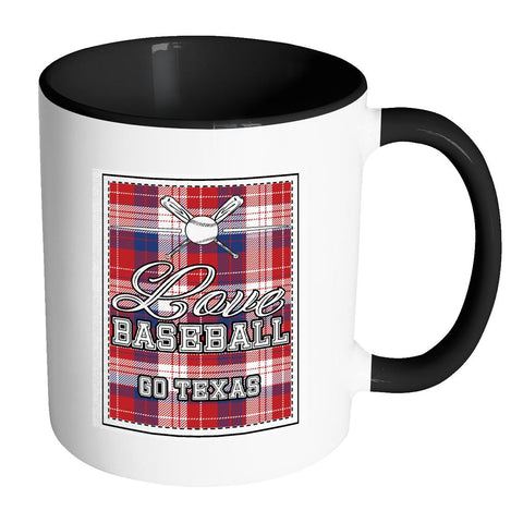 Love Baseball Go Texas Fan Gifts Checkered Plaid Cool 11oz 7Colors Mug-NeatFind.net