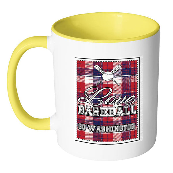 Love Baseball Go Washington Fan Gifts Checkered Plaid Cool 11oz 7Colors Mug-NeatFind.net