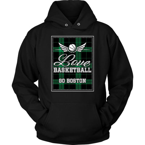 Love Basketball Go Boston Fan Gifts Checkered Plaid Cool Unique Hoodie-NeatFind.net
