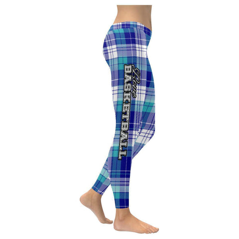 Love Basketball Go Charlotte Fan Plaid Checkered Soft UPF40+ Womens Leggings-NeatFind.net