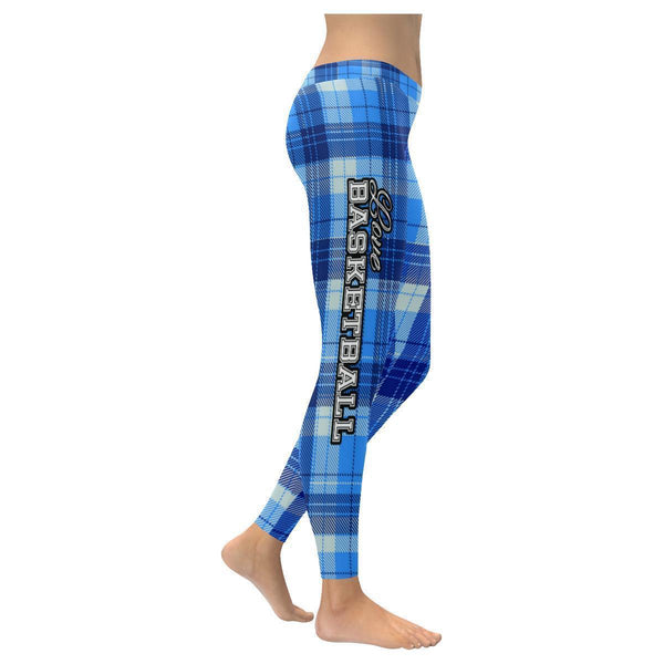 Love Basketball Go Dallas Fan Plaid Checkered Soft UPF40+ Womens Leggings-NeatFind.net