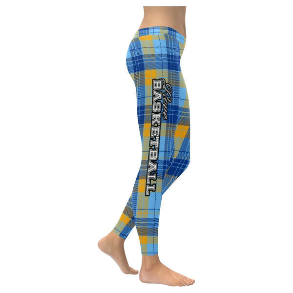 Love Basketball Go Denver Fan Plaid Checkered Soft UPF40+ Womens Leggings-NeatFind.net