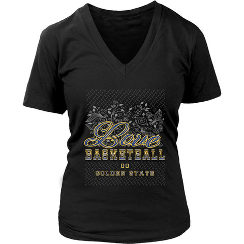 Love Basketball Go Golden State Fan Gifts Diamond Plate Awesome V-Neck-NeatFind.net