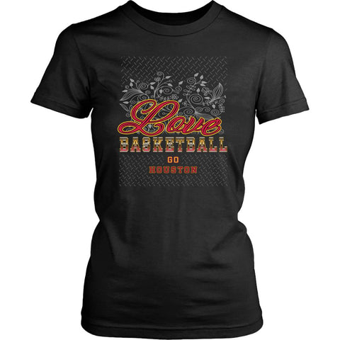 Love Basketball Go Houston Fan Gifts Diamond Plate Awesome Lady TShirt-NeatFind.net