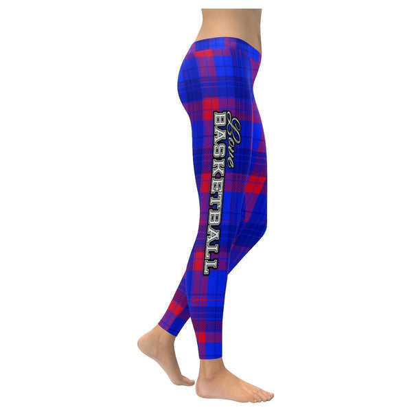 Love Basketball Go Los Angeles Fan Gift Ideas Checkered Plaid Womens Leggings-NeatFind.net