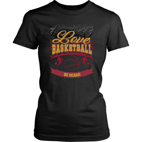 Love Basketball Go Miami Fan Gifts Gradient Vine Hip Women T-Shirt-NeatFind.net