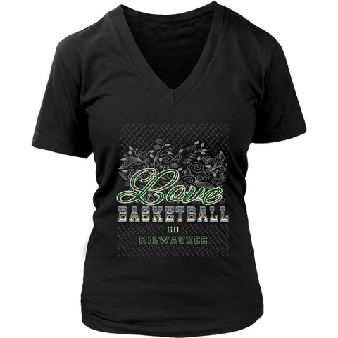 Love Basketball Go Milwaukee Fan Gift Diamond Plate Awesome Lady VNeck-NeatFind.net