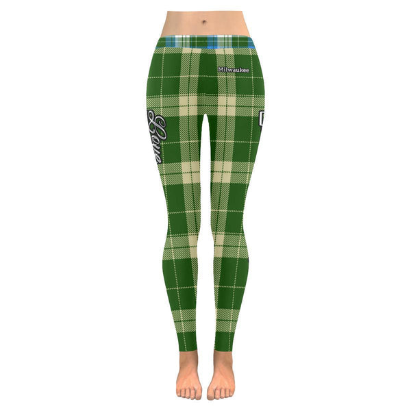 Love Basketball Go Milwaukee Fan Plaid Checkered Soft UPF40+ Womens Leggings-NeatFind.net