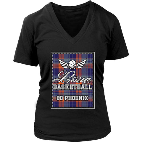 Love Basketball Go Phoenix Fan Gifts Checkered Plaid Awesome Lady V-Neck-NeatFind.net