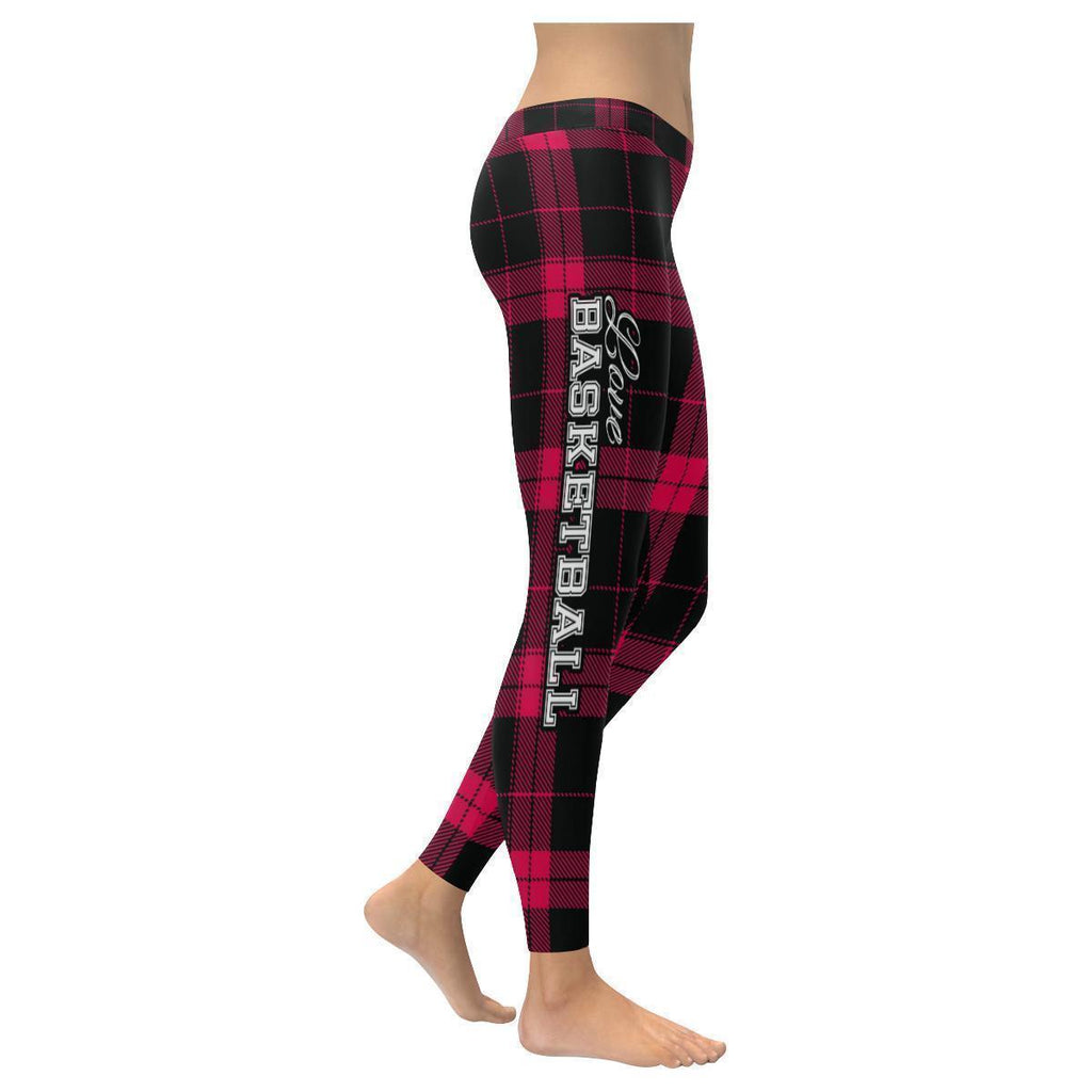 Love Basketball Go Toronto Fan Plaid Checkered Soft UPF40+ Womens Leggings-NeatFind.net