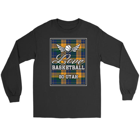 Love Basketball Go Utah Fan Gifts Checkered Plaid Long Sleeve T-Shirt-NeatFind.net