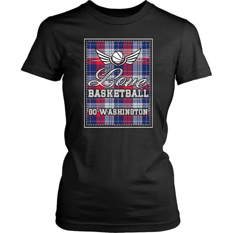 Love Basketball Go Washington Fan Gifts Checkered Plaid Awesome T-Shirt-NeatFind.net