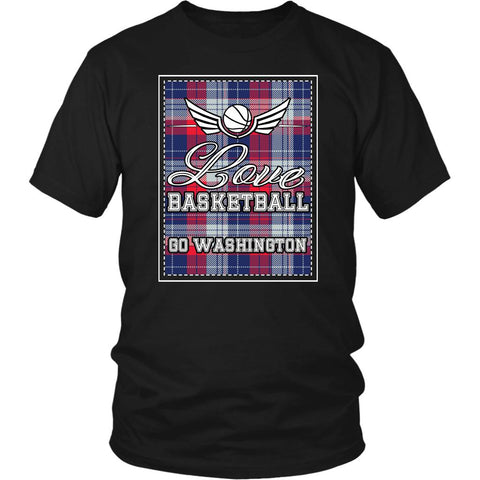 Love Basketball Go Washington Fan Gifts Checkered Plaid Awesome TShirt-NeatFind.net
