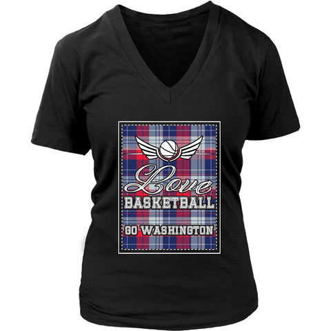 Love Basketball Go Washington Fan Gifts Checkered Plaid Awesome V-Neck-NeatFind.net