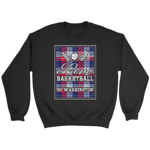 Love Basketball Go Washington Fan Gifts Checkered Plaid Cool Sweatshirt-NeatFind.net