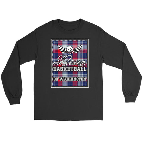 Love Basketball Go Washington Fan Gifts Checkered Plaid Long Sleeve Tees-NeatFind.net