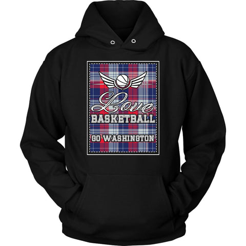 Love Basketball Go Washington Fan Gifts Checkered Plaid Unique Hoodie-NeatFind.net