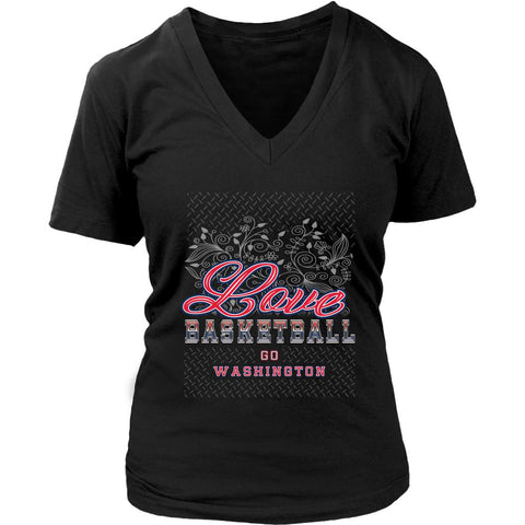 Love Basketball Go Washington Fan Gifts Diamond Plate Awesome V-Neck-NeatFind.net