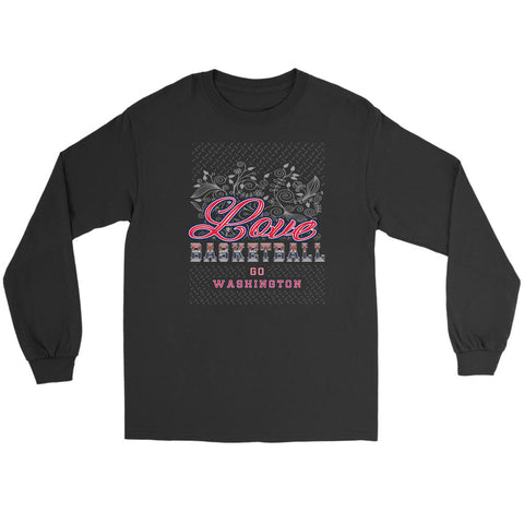 Love Basketball Go Washington Fan Gifts Diamond Plate Long Sleeve Tees-NeatFind.net