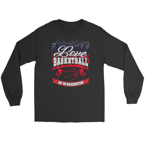 Love Basketball Go Washington Fan Gifts Gradient Long Sleeve T-Shirt-NeatFind.net