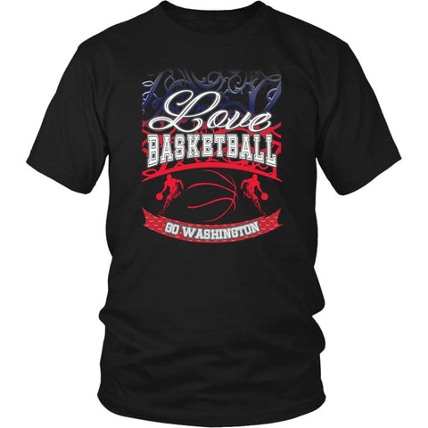 Love Basketball Go Washington Fan Gifts Gradient Men Unisex T-Shirt-NeatFind.net