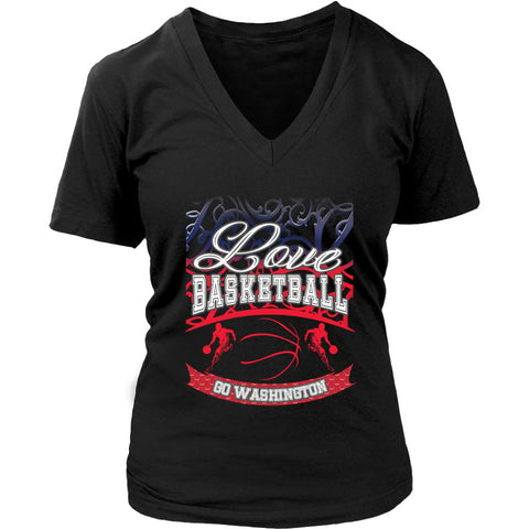 Love Basketball Go Washington Fan Gifts Gradient Vine Hip Women V-Neck-NeatFind.net