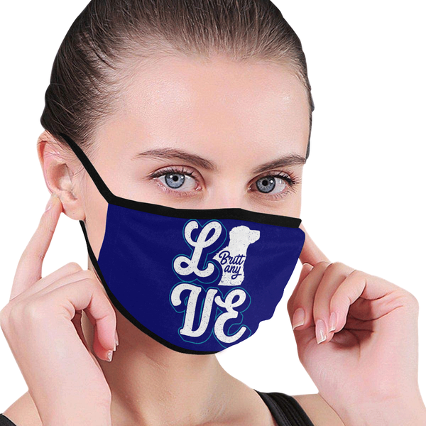Love Brittany Dog Funny Washable Reusable Cloth Face Mask With Filter Pocket-Face Mask-NeatFind.net