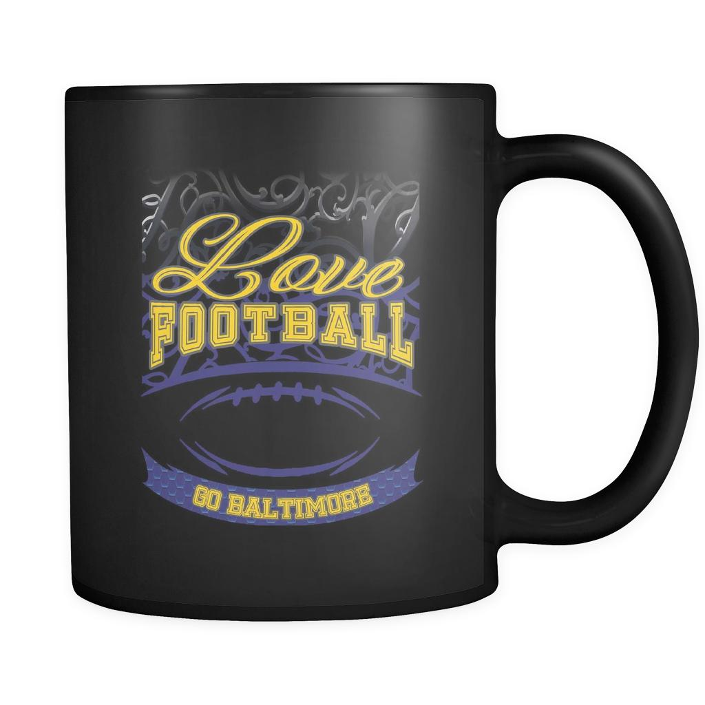 Love Football Game Go Baltimore Fan Apparel Gear Gradient Color Gift Black 11oz Coffee Mug-NeatFind.net