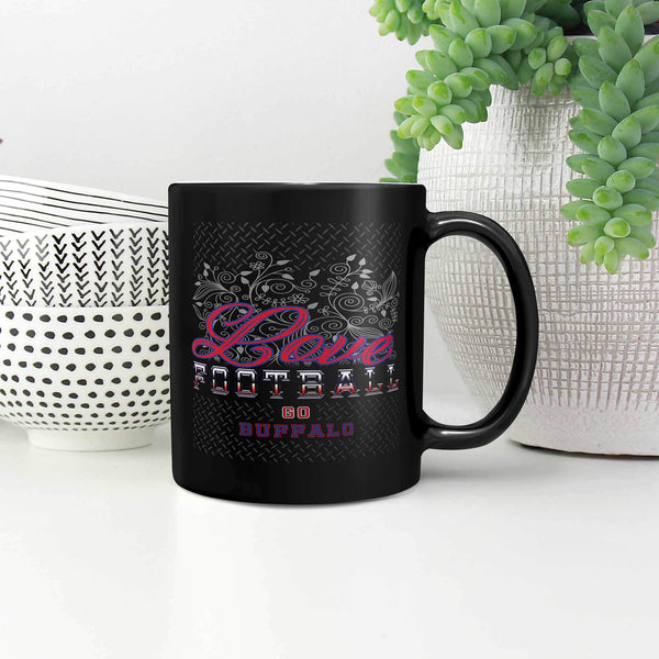 Love Football Game Go Buffalo Fan Gifts Diamond Plate Black 11oz Mug-NeatFind.net