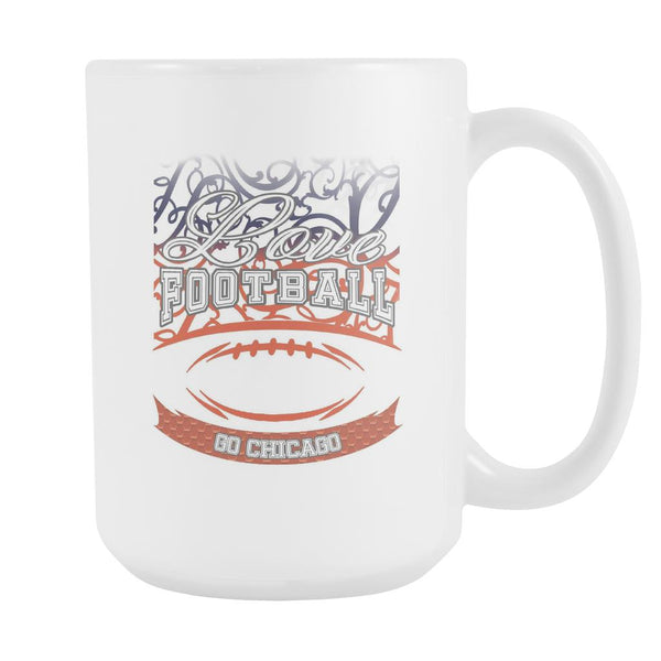 Love Football Game Go Chicago Fan Apparel Gear Gradient Color Gift White 15oz Coffee Mug-NeatFind.net