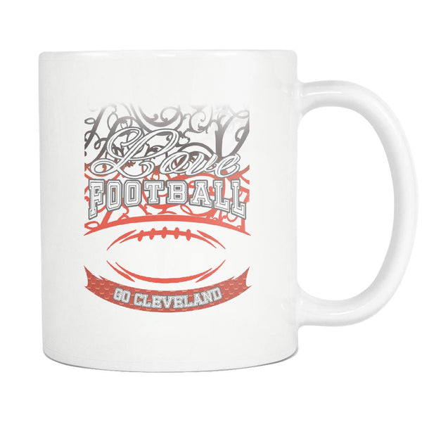 Love Football Game Go Cleveland Fan Apparel Gear Gradient Color Gift White 11oz Coffee Mug-NeatFind.net