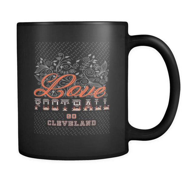 Love Football Game Go Cleveland Fan Gifts Diamond Plate Black 11oz Mug-NeatFind.net