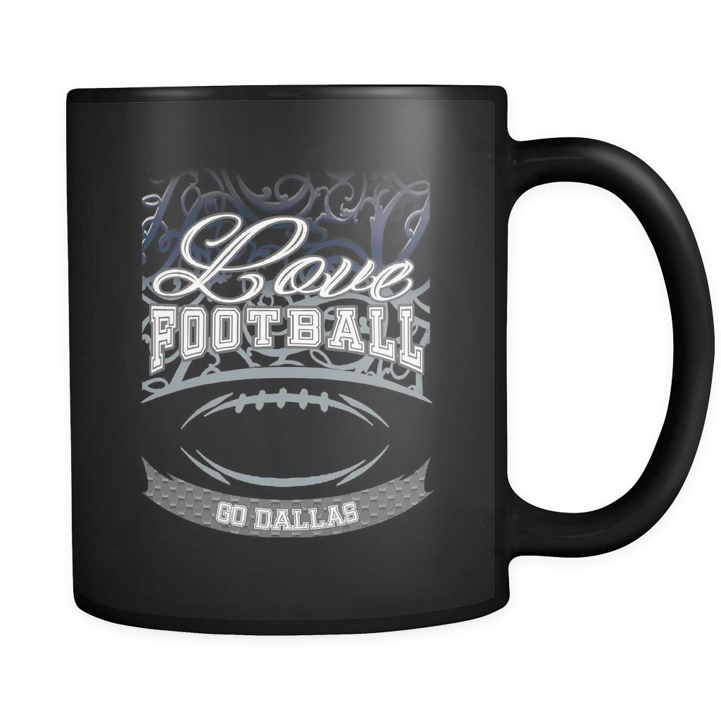 Love Football Game Go Dallas Fan Apparel Gear Gradient Color Gift Black 11oz Coffee Mug-NeatFind.net