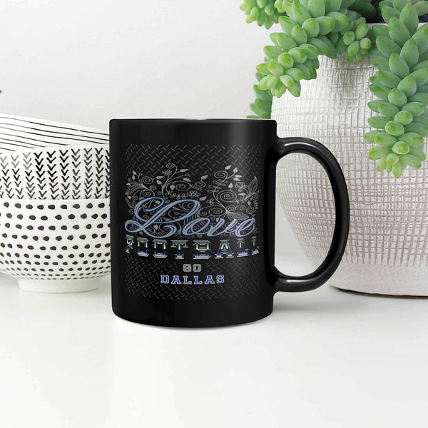 Love Football Game Go Dallas Fan Gifts Diamond Plate Black 11oz Mug-NeatFind.net
