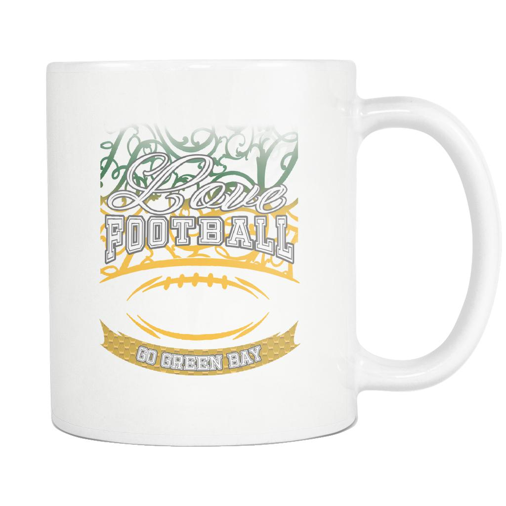 Love Football Game Go Green Bay Fan Apparel Gear Gradient Color Gift White 11oz Coffee Mug-NeatFind.net
